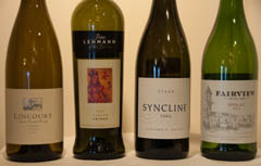 Four Syrah/Shiraz wines: Lincourt (CA), Peter Lehmann (Australia), Syncline (WA), Fairview (South Africa)