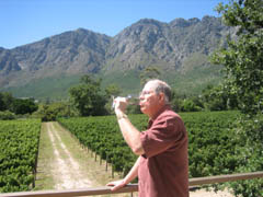 John enjoying a glass at Boekenhoutskloof