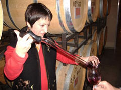 Marie-Eve pouring barrel samples