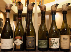 Lineup of Oregon Pinot Noirs
