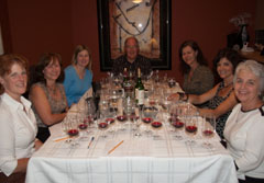 Wine tasting dinner guests at the table