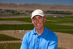 Vineyard manager Ryan Johnson at the top of Grand Rêve's estate vineyard