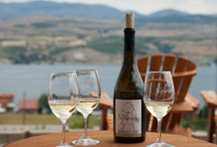 On the deck at Nefarious Cellars overlooking Lake Chelan