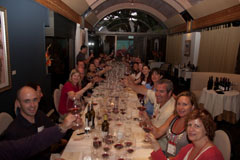 Our group enjoying dinner at Domaine Chandon