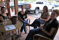 Enjoying some Dusted Valley wines outside at the Dusted Valley Wine Gallery in Woodinville
