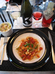 Shrimp Creole paired with Viognier and Rosé of Sangiovese