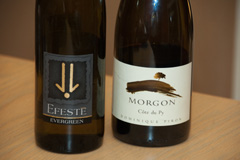 2008 Efeste Evergreen Riesling and 2008 Dominique Piron Morgon Cote du Py Cru du Beaujolais