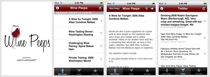 Wine Peeps iPhone App screenshots